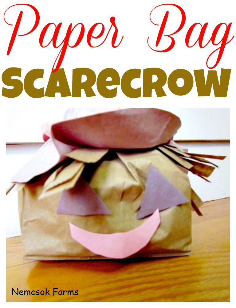 Paper Bag Scarecrow craft made from recycled lunch bags and other paper scraps