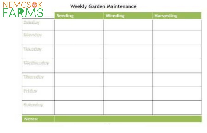 Weekly Garden Maintenance Planner Nemcsok Farms