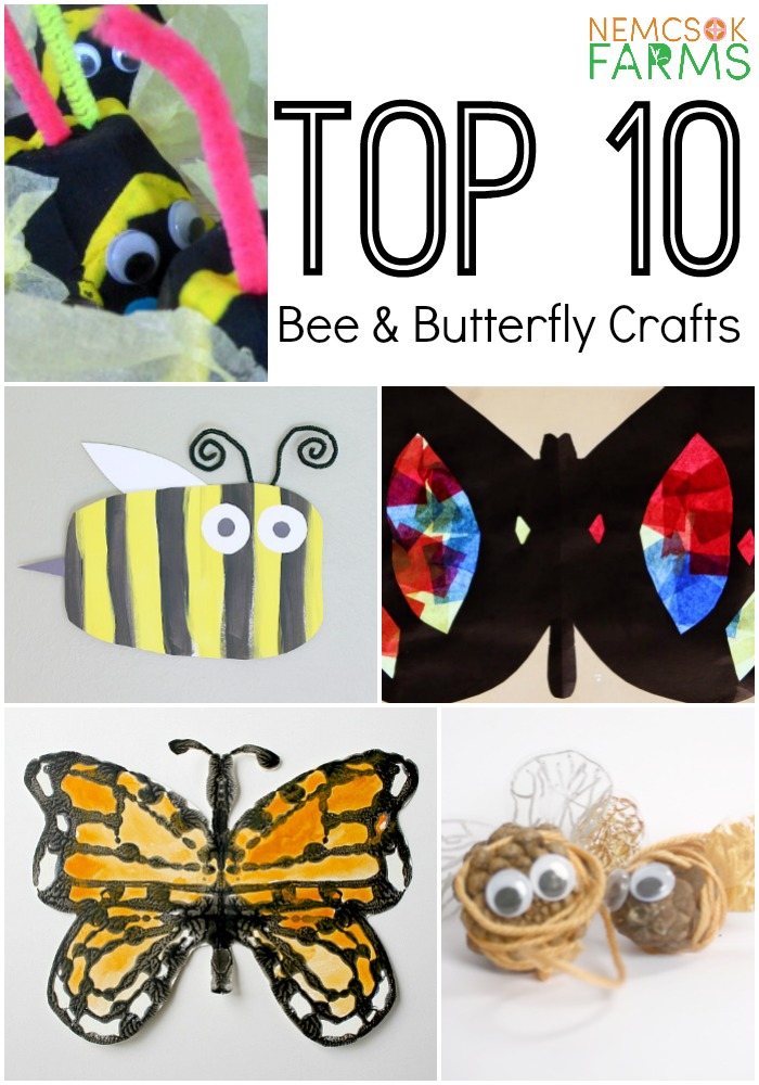 Top Ten Ways to Celebrate Earth Day, Crafts, Activities and More, for kids and families with these fun bee and butterfly crafts from Nemcsok Farms.