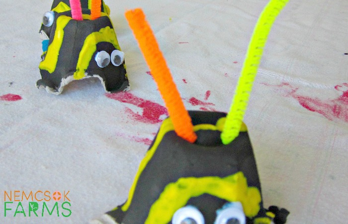 Recycle Egg Cartons into these adorable Super Bees - and learn about what Bees do!