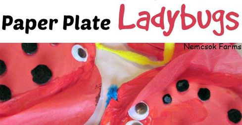 Too cute and way fun Paper Plate Ladybug Recycled Materials Inspired by Nature Craft for Kids