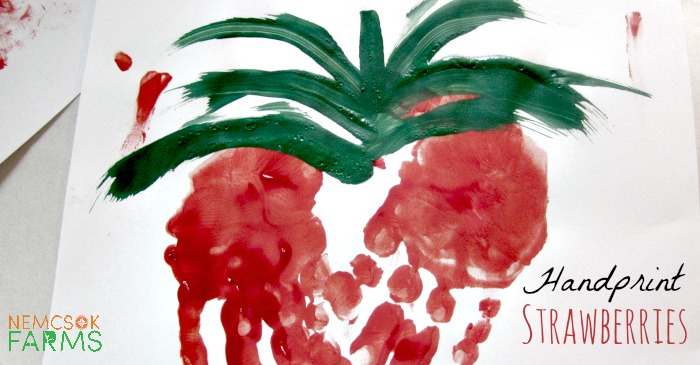 Handprint Art Strawberry Keepsake Paintings
