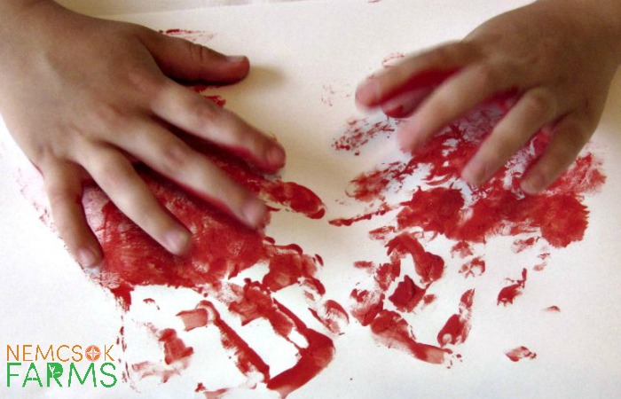 Handprint Art Strawberry Keepsake Paintings