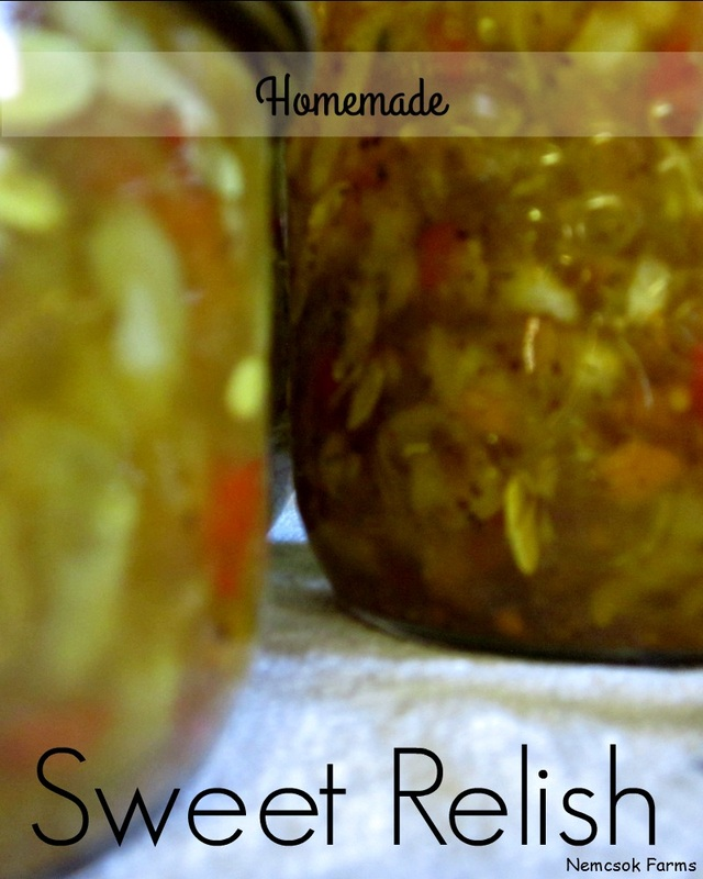 Homemade Sweet Relish using cucumbers, bells peppers and onions, fresh from the garden condiment