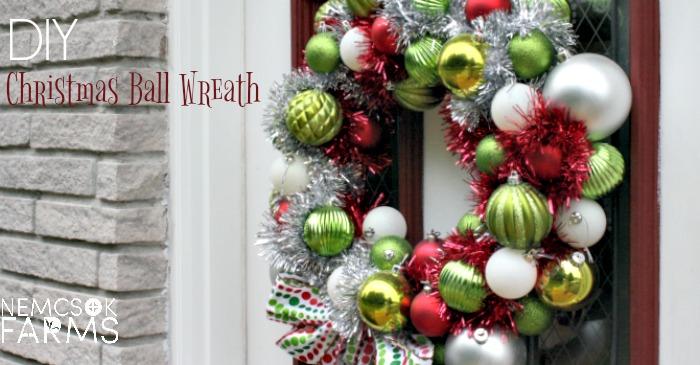 DIY Holiday Decor Christmas Ball Wreath post thumbnail image