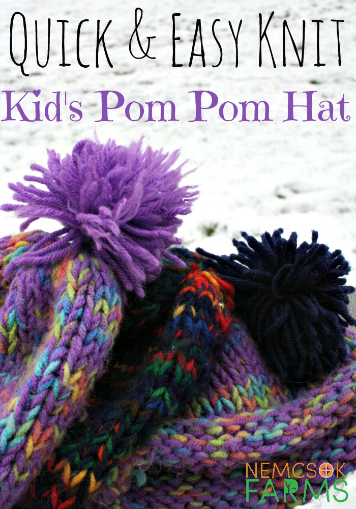 Quick and Easy Kid's Pom Pom Hat Free Knitting Pattern DIY Project