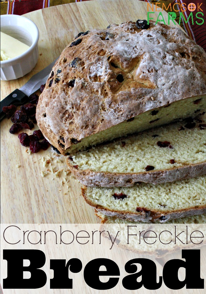 Cranberry 'Freckles' sweeten up this super easy soda bread and it's perfect for snacking, and just as special with a cup of coffee.