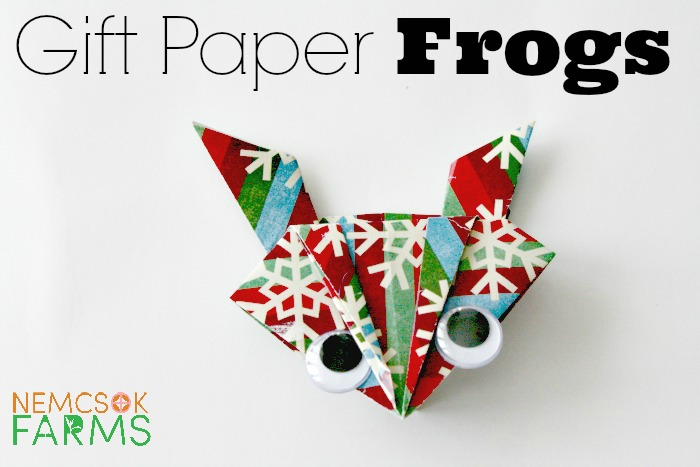 Recycle Gift Paper into these adorable origami frogs with googly eyes