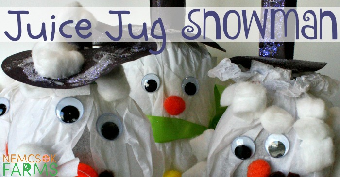 Re-Use Juice Jugs into these adorable Snowmen Crafts for some Wintery Fun