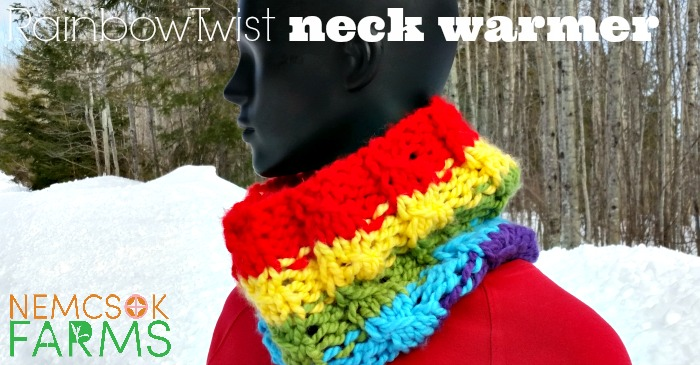 Free Knitting Pattern for a Hand Knit Neck Warmer or Cowl in a rainbow pattern, with a faux or mock cable. A super quick knit, good for spring fall and winter
