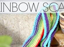 DIY hand knit super long scarf in a rainbow pattern