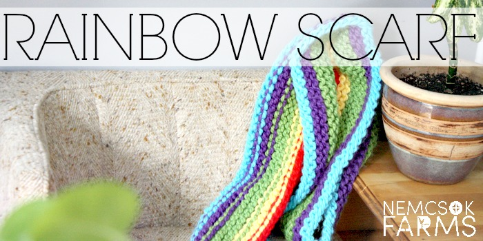 DIY hand knit  super long scarf in a rainbow pattern