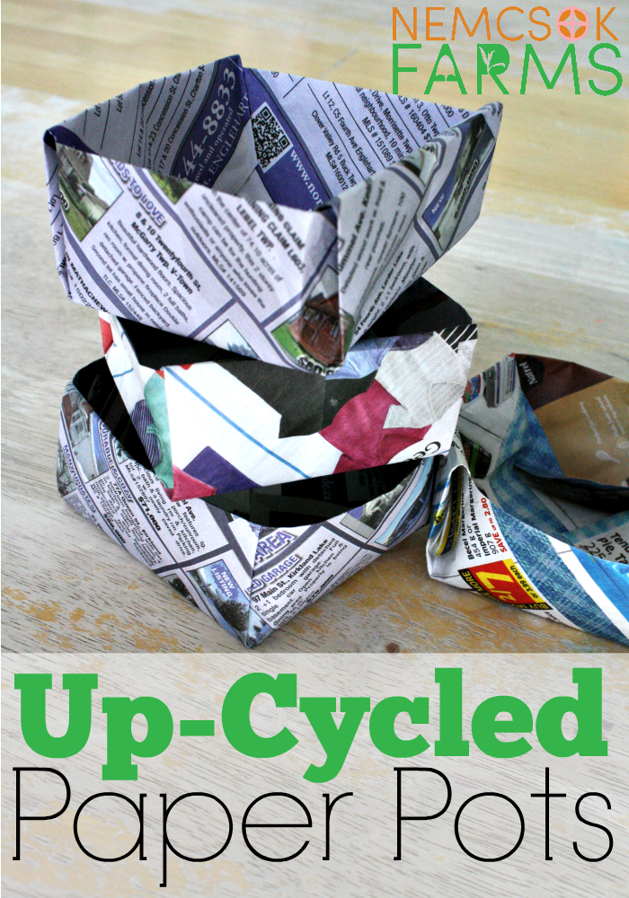 DIY Up-Cycled Paper Pots from newspaper in two ways, for starting your garden seedlings