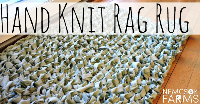 DIY Hand Knit Rag Rug made from an Up-cycled bed sheet!