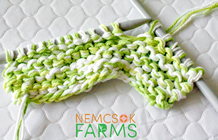 DIY Cotton Napkin free knitting pattern for eco-friendly living made with three strands held together on big needles for a quick and satisfying project