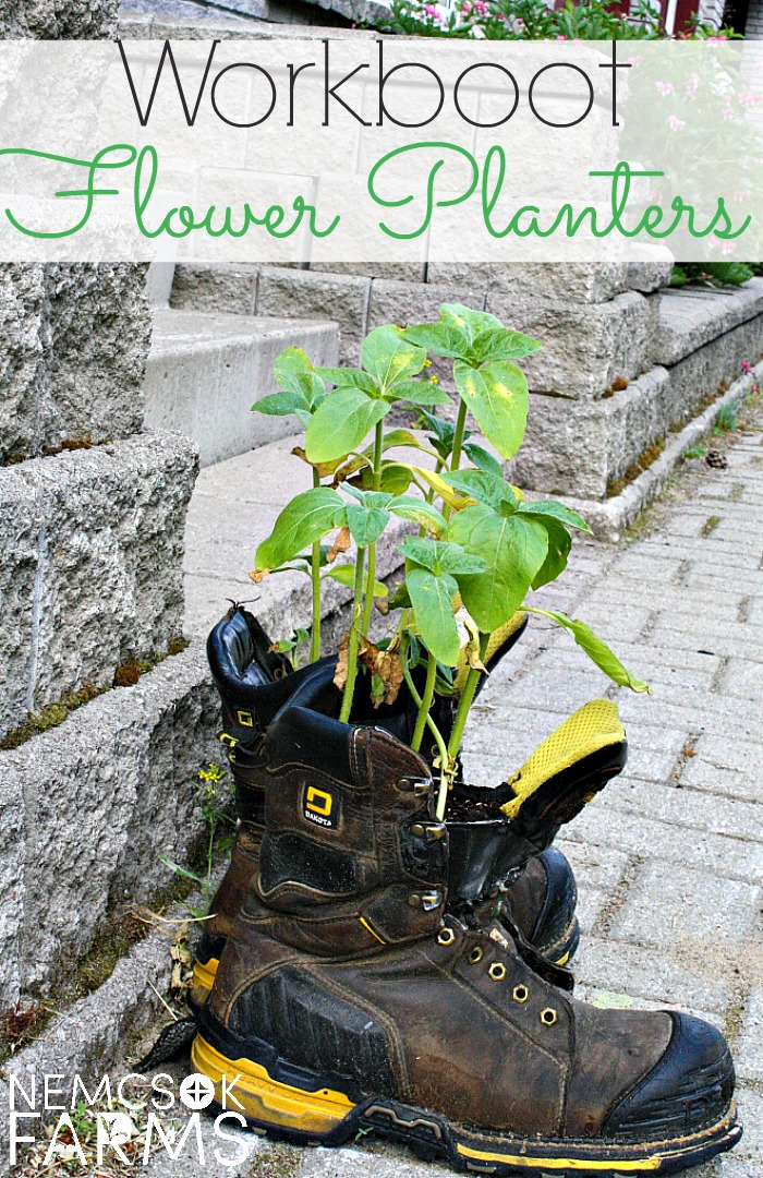 Unique Flower Planters for Your Yard and Garden made from Upcycling Old Workboots