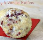 Raspberry Muffins made with vanilla sugar perfect for breakfast and snacking.