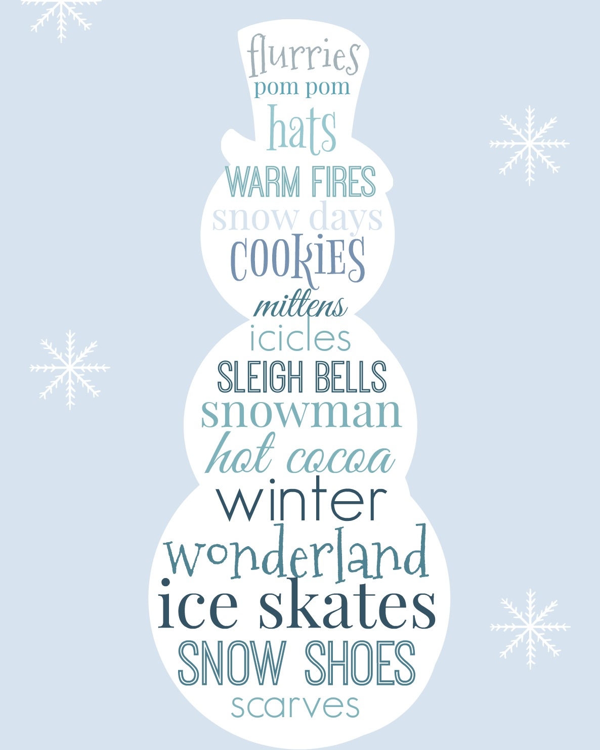 Snowman Subway Style free printable wall art. Easy DIY farmhouse style decor, perfect for framing and for gifting