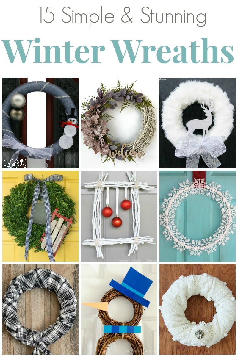 Simple DIY Winter Wreaths From whimsical snowman wreaths to completely brilliant fabric and scarf wreaths, to stunning twig and burlap wreaths, this collection of DIY Winter Wreaths is exactly what you're looking for.