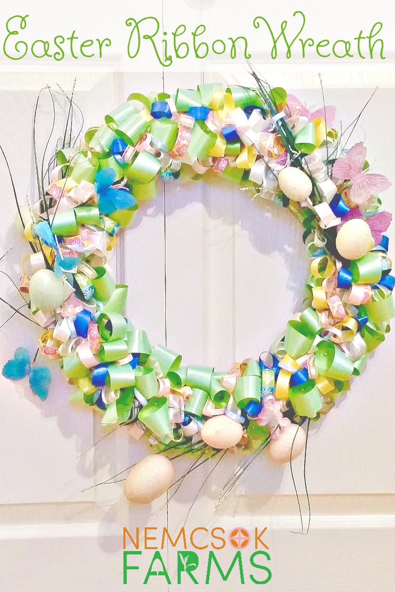 Diy easter ribbon wreath tutorial nemcsok farms easter ribbon wreath tutorial easy diy decor perfectly light and airy for all things solutioingenieria Image collections