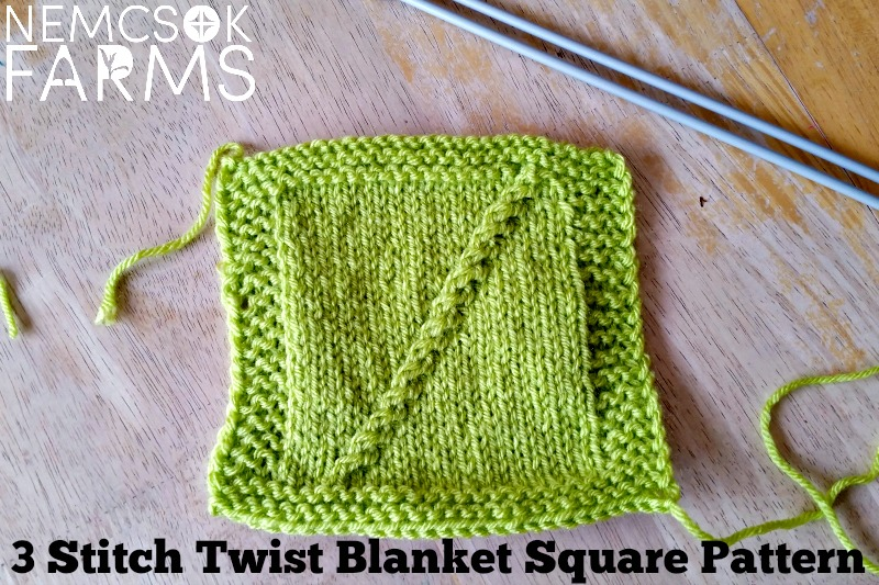 3 Stitch Twist Blanket Square Knitting Pattern Nemcsok Farms