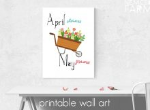 April Showers and May Flowers free printable wall art. Easy DIY farmhouse style decor, perfect for framing and for gifting
