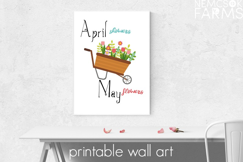 April Showers Printable Wall Art. Easy DIY farmhouse style decor, perfect for framing and for gifting